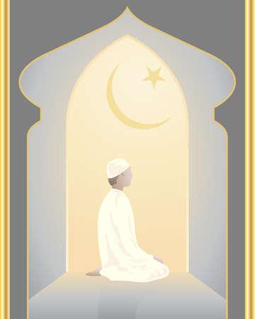 croissant de lune: une illustration d'un d�vot islam prier dans une mosqu�e dans une vo�te �clair�e avec l'�toile et le croissant de lune symbole Illustration