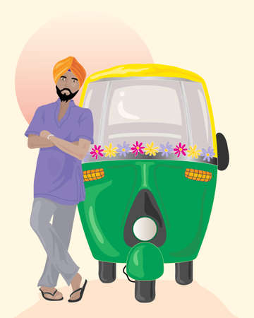 auto rickshaw: an illustration of a sikh taxi driver with orange turban standing next to a decorated auto rickshaw under an indian sun