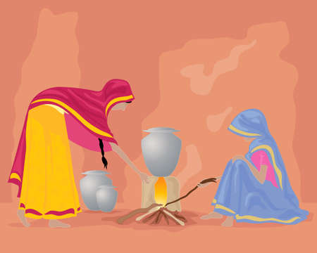 rural india: an illustration of a rural indian kitchen with two women in colorful sarees cooking food on a wood stove