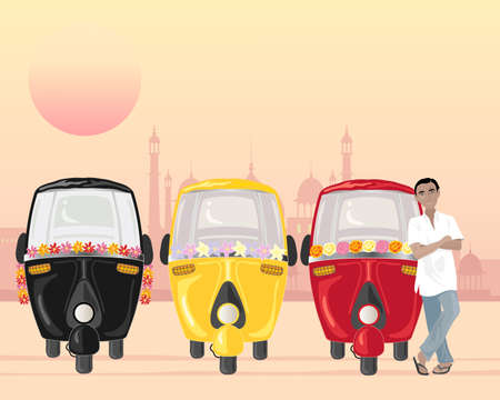 an illustration of a row of parked auto rickshaws in different colors with an asian taxi driver in a white shirt under an urban setting sun