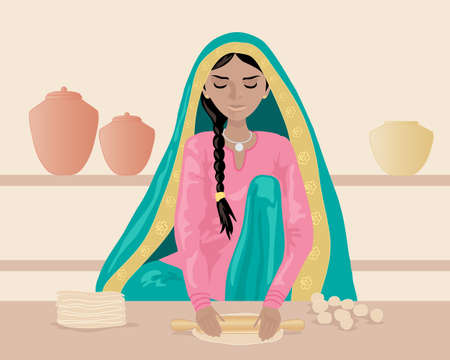 kameez: an illustration of an indian woman rolling out chapattis dressed in traditional clothing with shelves and pots on a brown background