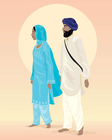 sikh: an illustration of a sikh couple dressed in traditional clothing with salwar kameez and turban under a big yellow sun