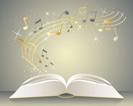 music book: an illustration of an open music book with gold and gray notes radiating from the pages with sparkles and stars on a golden background