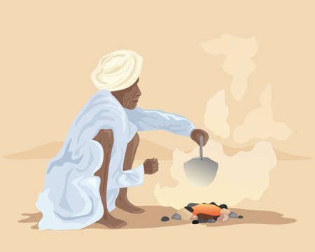 kameez: an illustration of an indian man making chai over a fire outside in a desert landscape Illustration