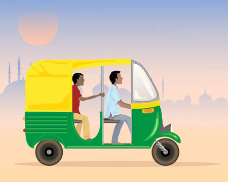 auto rickshaw: an illustration of a tuk tuk taxi in india with driver and passenger in an urban setting in the evening