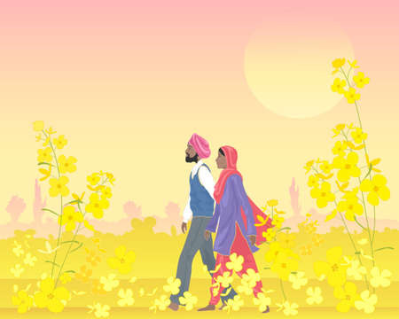 salwar: an illustration of a punjabi couple dressed in traditional clothing walking through a bright field of mustard in the warm evening sunshine