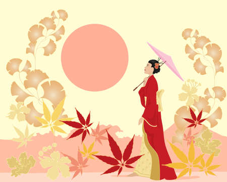 japanese garden: an illustration of an oriental garden with a traditionally dressed japanese lady and parasol amongst acer blossom and ginko foliage under a setting sun