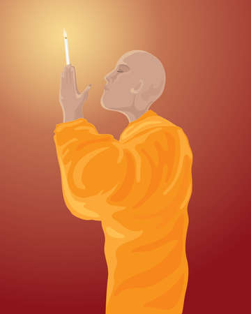 devout: an illustration of a buddhist monk in orange robes meditating with lighted candle on a dark red background