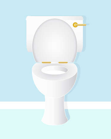 toilet bowl: an illustration of a white ceramic toilet bowl with gold handle and hinges in a fresh blue bathroom