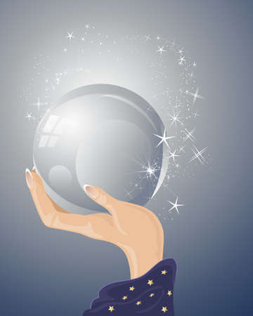 crystal ball: an illustration of a magicians hand with purple robe holding a magic crystal ball with sparkles and stars on a blue gray background