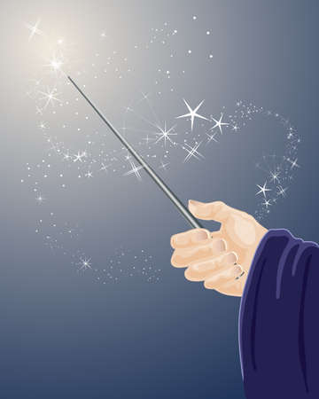 an illustration of a wizards hand holding a magic wand with sparkles and stars on a dark blue background