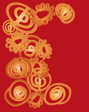 deep fried: an illustration of delicious jalebi dessert in abstract form in different designs on a dark red background