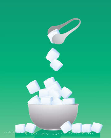 sugar: an illustration of a bowl of sugar cubes with metal tongs and granules on a green background