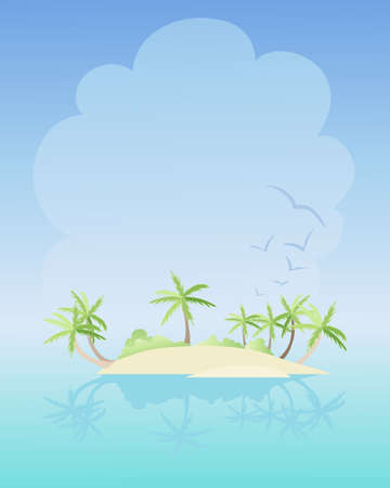 retreat: an illustration of a beautiful tropical island with sand and palm trees in an aqua sea with a warm sunny sky