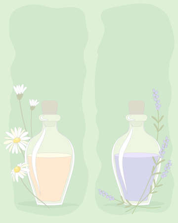 an illustration of small bottles of essential oils with flower decoration on a sage green background with space for text