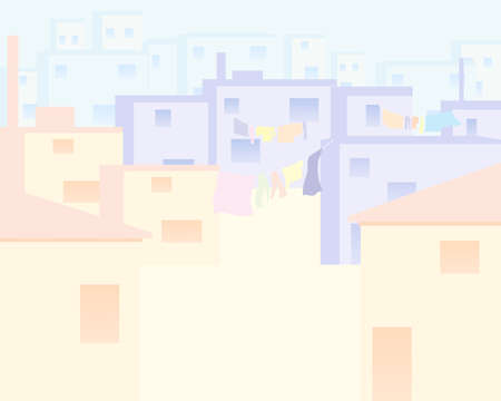 pale colors: an illustration of houses in an indian city done in an abstract form with pale colors and space for text Illustration