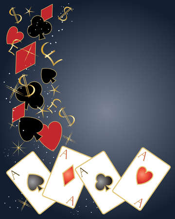 an illustration of playing cards with symbols dollar and pound signs and sparkles on a dark background Vector