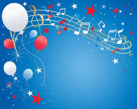 an illustration of a july fourth celebration background with musical notes balloons sparkles and stars in red white and blue Vector