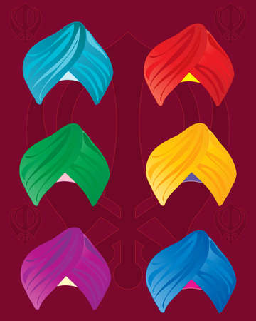 sikhism: an illustration of colorful sikh turbans on a red background with sikh symbol