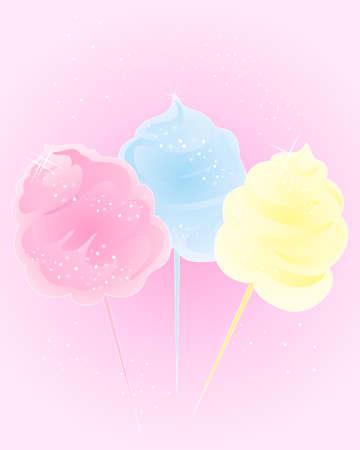algodon de azucar: una ilustración de coloridos dulces de algodón en rosa y azul brilla yellowwith y espacio para texto sobre un fondo de color rosa