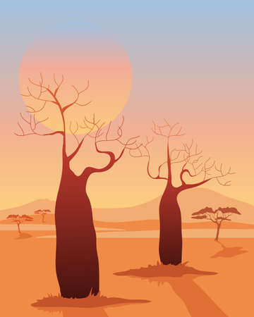 an illustration of a two baobab trees in a desert african landscape with mountains and acacia underneath a setting sun Vector