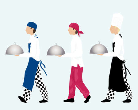 white pants: an illustration of three chefs carrying trays dressed in different styles of work wear on an ice blue background