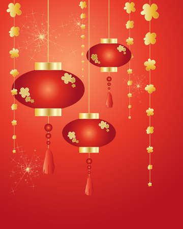 an illustration of chinese new year lanterns decorations and fireworks on a red background in greeting card format