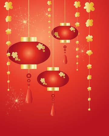 faroles: una ilustración de año nuevo chino decoraciones linternas y fuegos artificiales sobre un fondo rojo en el formato de la tarjeta de felicitación Vectores