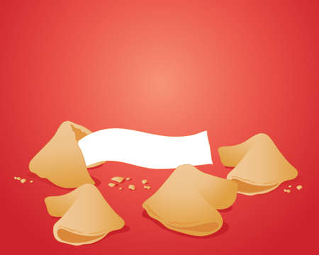 an illustration of some delicious fortune cookies with crumbs and a white note for text on a rich red background
