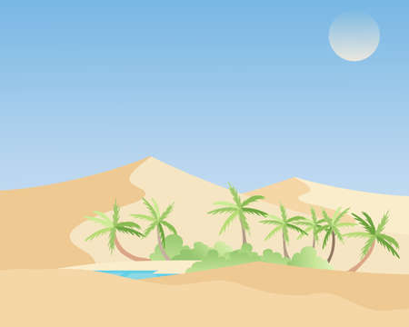 espejismo: una ilustraci�n de un hermoso oasis en un paisaje des�rtico caliente con palmeras verde vegetaci�n y una laguna azul refrescante Vectores