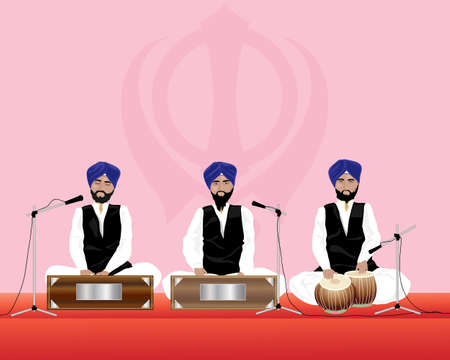 sikh: an illustration of three traditionally dressed sikh temple musicians with blue turbans and black waistcoats on harmonium and tabla drums performing in a gurdwara