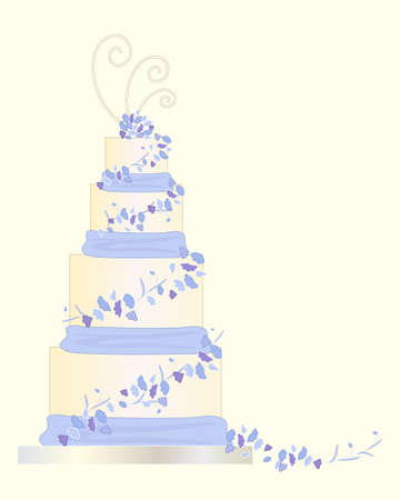 pale cream: an illustration of a cream color wedding cake decorated with blue cascade lobelia flowers and ribbon on a pale background Illustration