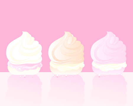 meringue: an illustration of three delicious swirly meringue treats with cream on a pink background