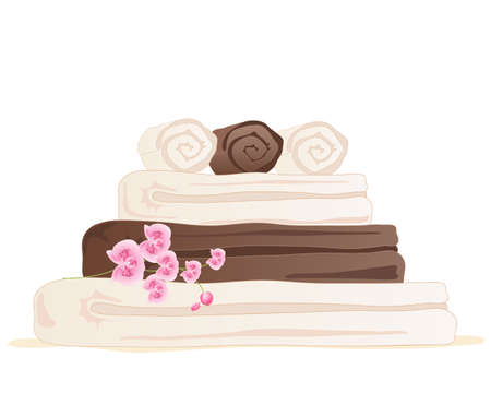 drying: an illustration of chocolate and cream color towel stack with pink orchid isolated on a white background