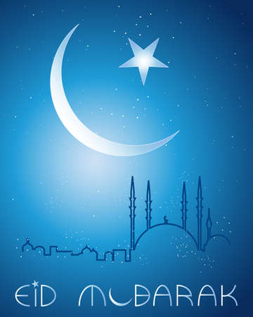 an illustration of an eid festival greeting card background with crescent moon stars and an abstract mosque skyline on a dark blue background Çizim