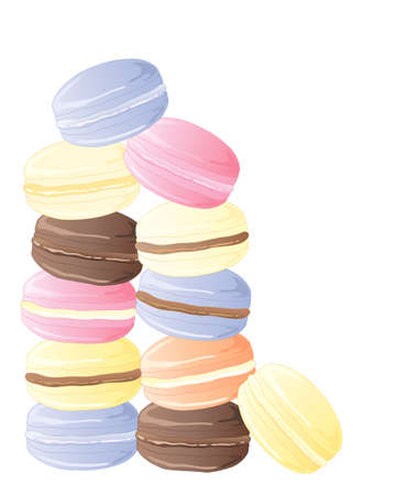 meringue: an illustration of colorful delicious macaroon treats in pink yellow purple and brown isolated on a white background Illustration