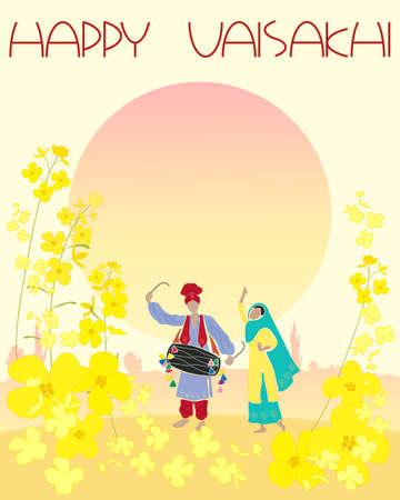 mustard: an illustration of a happy vaisakhi greeting card with mustard flowers and punjabi dancers under a setting sun