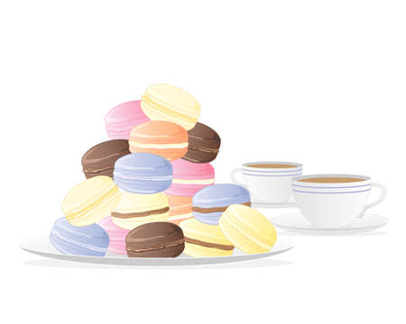 meringue: an illustration of a plate of meringue macaroons with two cups of tea isolated on a white background