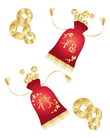 coin purses: an illustration of chinese new year money purses in red velvet with golden decoration and fringe isolated on a white background Illustration