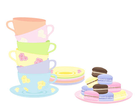 afternoon tea: an illustration of a stack of fancy cups and saucers with a plate of delicious colorful macaroons isolated on a white background