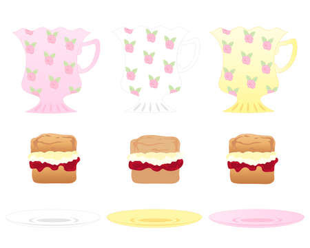 an illustration of fancy tea cups side plates and delicious jam and cream scones isolated on a white background