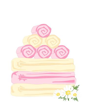 posy: an illustration of a pile of pink and cream towels with daisy posy isolated on a white background
