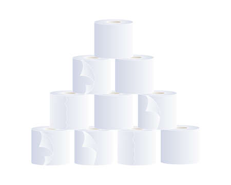 an illustration of a stack of white paper toilet rolls isolated on a white background