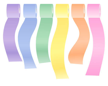 pastel shades: an illustration of a row of colorful toilet rolls in pastel shades isolated on a white background