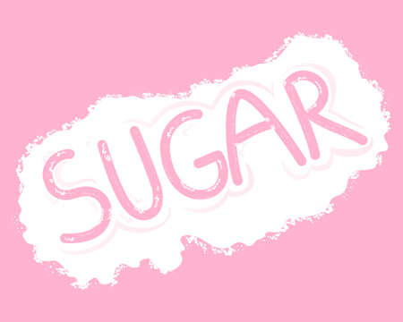 background pink: an illustration of a sprinkle of sugar granules with the word sugar written by a finger on a pink background Illustration