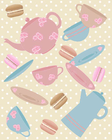 an illustration of elements from a cafe including teapot cup saucer coffee pot and macaroons in vintage colors with a polka dot background Vector