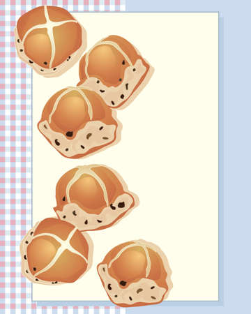 sweet bun: an illustration of delicious hot cross buns freshly baked from the oven on a gingham background and space for text