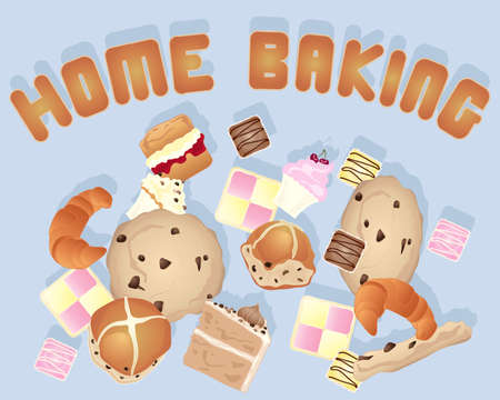 buns: an illustration of a home baking background image with various cakes and cookies on a blue gray background with biscuit letters Illustration