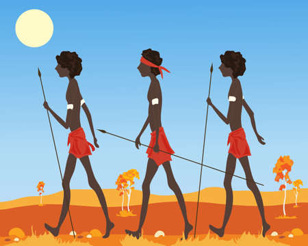 australian culture: an illustration of a three australian aborigine men dressed in traditional clothing walking in the outback in a parched landscape under a hot sun Illustration