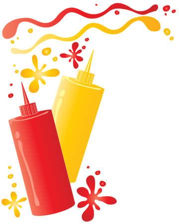 eine Darstellung von zwei Flaschen mit Sauce Ketchup und Senf mit Flecken und Spritzer auf einem weißen Hintergrund
